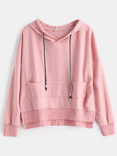 Loose Slit High Low Hoodie - Light Pink L