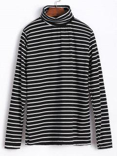 Turtleneck Stripe Tee - Black