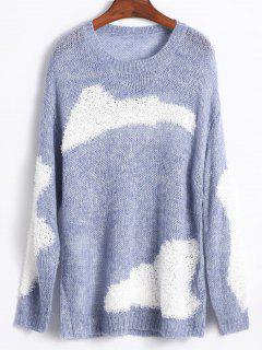 Chandail Panneau Au Crochet Surdimensionné - Bleu-gris