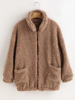 Fluffy Faux Fur Winter Teddy Coat - Camel Brown M