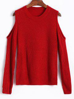 Cold Shoulder Sweater - Red Wine