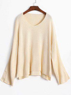 Slit Sleeve Oversize Sweater - Warm White