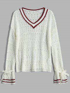 Openwork Bell Sleeve Striped Sweater - White L