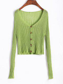 Low Cut Knitted Short Cardigan - Green Onion