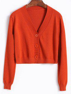 Single Breasted Knit V Neck Cardigan - Rosso Red