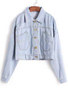 Drop Shoulder Crop Jean Jacket - Denim Blue