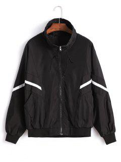 Zipper Sports Batwing Jacket - Black