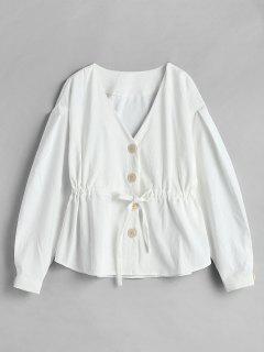 Corduroy Drawstring Single Breasted Jacket - White S