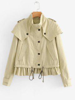 Cape Ruffles Zip Up Jacket - Apricot S