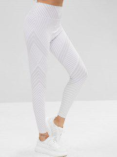 High Waisted Striped Workout Leggings - Light Gray L