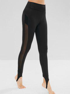 Mesh Insert High Waisted Stirrup Leggings - Black L