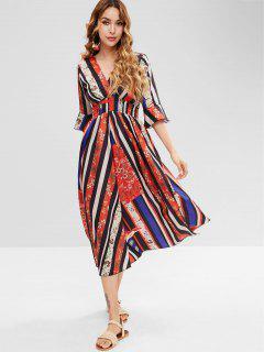 Ethnic Empire Waist Flare Sleeve Dress - Multi L