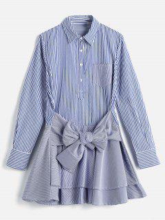 Long Sleeve Striped Tier Shirt Dress - Blue M