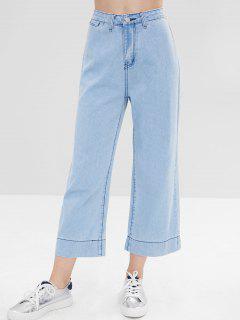 Light Wash Pocket Wide Leg Jeans - Baby Blue M