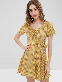 Tie Waist Tartan Dress - Yellow L