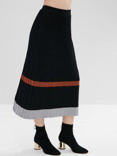 Maxi Contrast Knitted Skirt - Black
