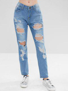 Disstressed High Waisted Zipper Jeans - Light Blue M