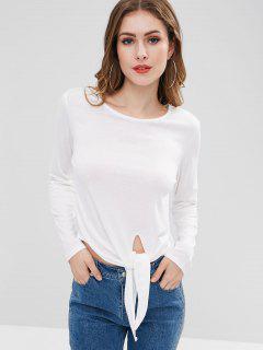 T-shirt à Manches Longues à Taille Nouée - Blanc M