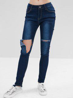 Hole Ripped Jeans - Blue L