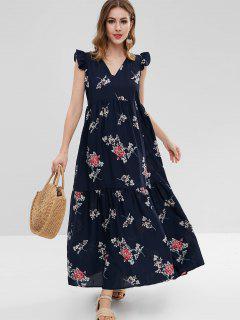 Ruffled Floral Smock Maxi Dress - Deep Blue L