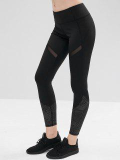 Mesh Insert Geometric Workout Leggings - Black L
