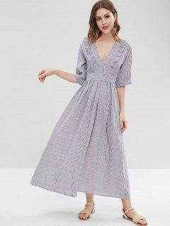 Maxi Ruffles Striped Dress - Multi S