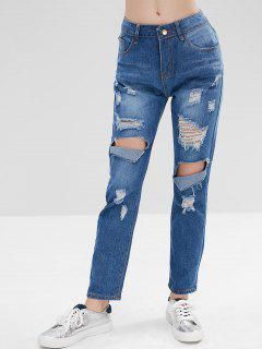 Hole Distressed Jeans - Blue Xl