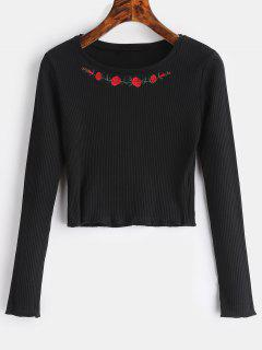 Floral Embroidered Ribbed Top - Black L