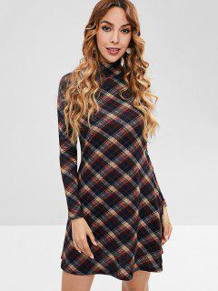 Plaid Long Sleeve Casual Dress - Multi L