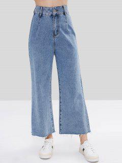 Raw Hem Pocket Wide Leg Jeans - Baby Blue M