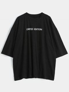 Letter Graphic Long Oversized Tee - Black Xl