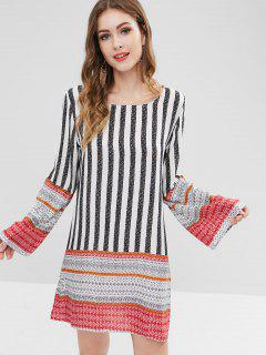 Striped Long Sleeve Mini Shift Dress - Multi Xl