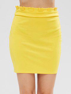 Pleated Waist Mini Skirt - Yellow L