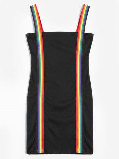 Rainbow Stripe Mini Bodycon Dress - Black M