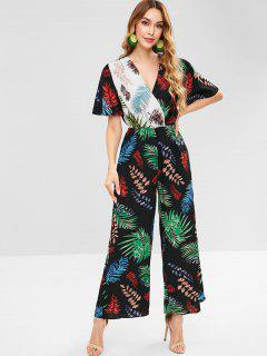 Tropical Print Surplice Wide Leg Jumpsuit - Black M