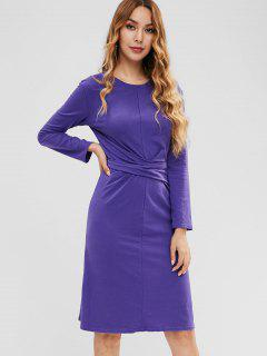 Knotted Slit Casual Dress - Purple Sage Bush Xl