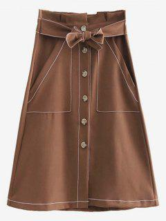 Knot A Line Button Up Skirt - Brown S