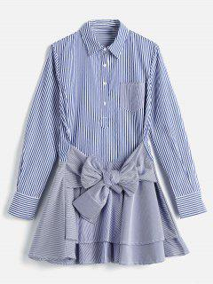 Long Sleeve Striped Tier Shirt Dress - Blue S