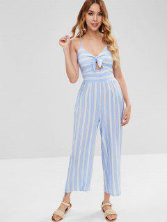 Knotted Striped Wide Leg Jumpsuit - Light Blue L