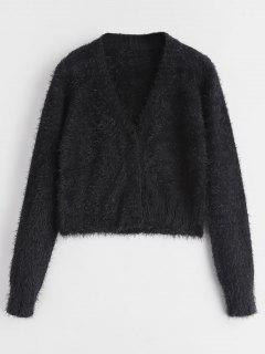 Button Up Mohair Cardigan - Black M