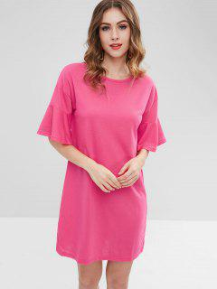 Robe Chemise Droite Manches à Volants - Rouge Rose S