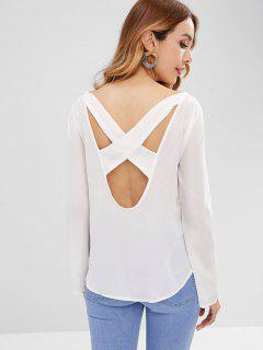 Cross Open Back Flowy Chiffon Top - White M