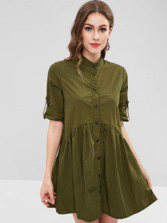 Tab Sleeve Lightweight Smock Shirt Dress - Army Green L