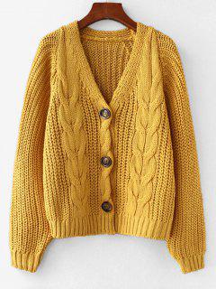 Chunky V Neck Button Up Cardigan - Bright Yellow
