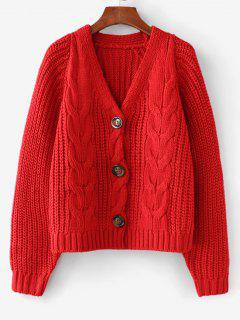 Chunky V Neck Button Up Cardigan - Lava Red