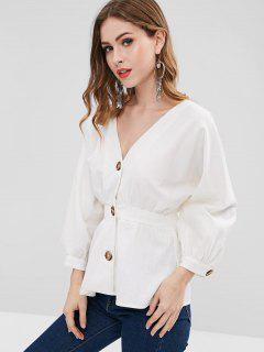 Contrasting Buttons Dolman Sleeve Puplum Blouse - White M