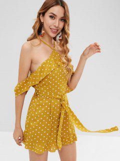 Belted Ruffles Dots Romper - Bee Yellow M