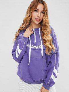 Half-zip Graphic Hoodie - Medium Purple M