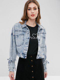 Drop Shoulder Rivet Pocket Jean Jacket - Baby Blue S