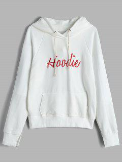 Letter Embroidered Pouch Pocket Hoodie - White M